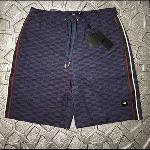 New KITH Navy Box Logo Shorts Tilden Very RARE